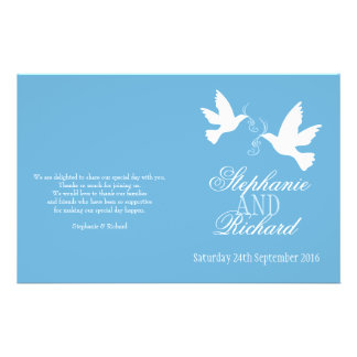 Two white doves blue ribbon Wedding Programme