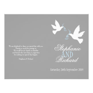 Two white doves grey blue ribbon Wedding Programme