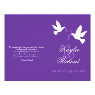Two white doves purple ribbon Wedding Programme