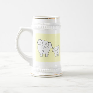 Two White Elephants on Cream. Cartoon. Beer Steins
