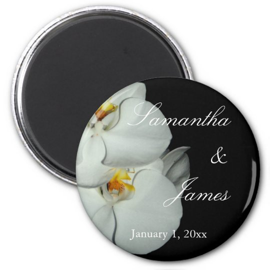 Two White Orchids on Black Personal Wedding Magnet