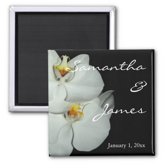 Two White Orchids Personal Wedding Magnet