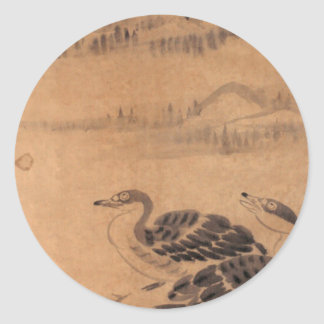 Two Wild Geese by Bada Shanren Classic Round Sticker