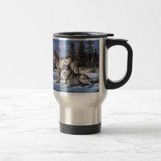 Two wolves in winter Siberian Stainless Steel Travel Mug