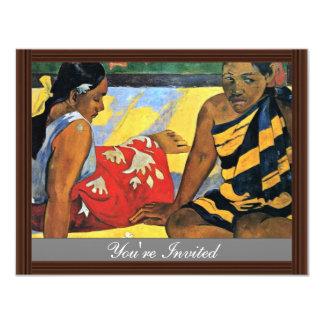 Two Women Of Tahiti (What'S New Parau Api) 11 Cm X 14 Cm Invitation Card