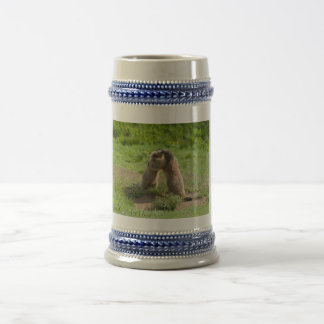 two young marmots beer stein