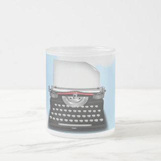 Typewriter sky frosted glass mug