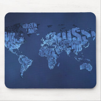 Typographic World Map (Night) Mouse Pad