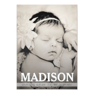Typography Baby Girl Birth Announcement Photo Card