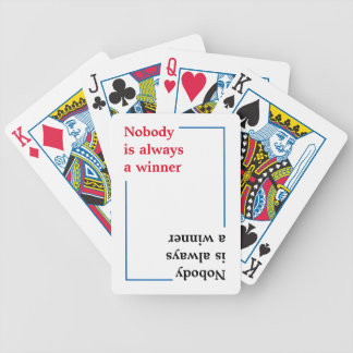 typography quote . winner or loser bicycle playing cards