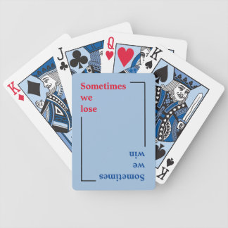 typography win or lose bicycle playing cards