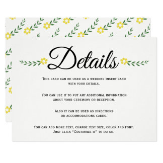 Typography yellow floral wedding details insert card