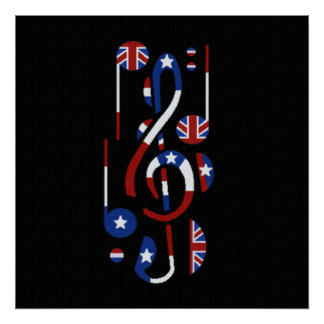 U.K. and USA Flag Musical Notes Posters
