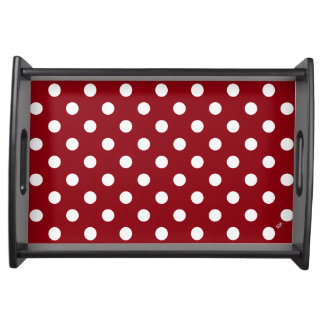 U-pick Background Colour/ Classic White Polka Dots Serving Tray