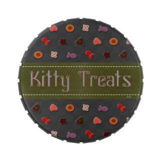 U Pick Color Background/ Kitty Cat Traveling Treat Candy Tin