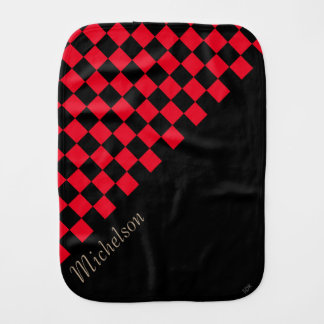 U-pick Color Black Checkered Tiles Personalized Baby Burp Cloths
