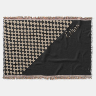 U-pick Color Black Checkered Tiles Personalized Throw Blanket
