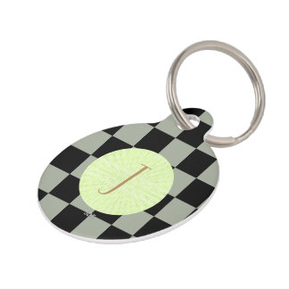 U-pick Color Black Checkered Tiles Pet Nametags