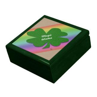 U-pick Color/ Green Good Luck Irish 4 Leaf Clover Large Square Gift Box
