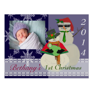 U Pick Colour/ Snowman 1st Baby's First Christmas Postcard