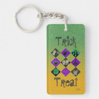 U Pick Gradient/Halloween Trick or Treat for Candy Double-Sided Rectangular Acrylic Key Ring