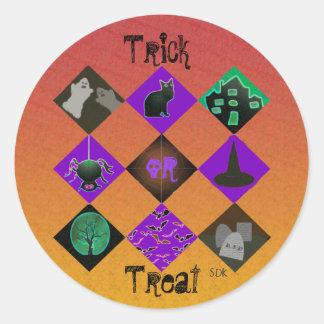 U Pick Gradient/Halloween Trick or Treat for Candy Round Sticker