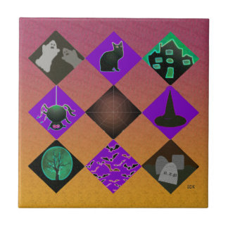 U Pick Gradient/Halloween Trick or Treat for Candy Small Square Tile