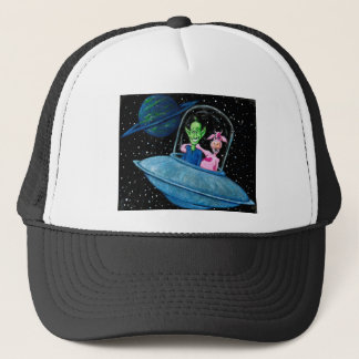 UFO with Martian and Cow Trucker Hat