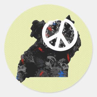 Uganda Trendy Peace Sign with Ugandan map Round Stickers