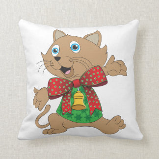 Ugly Christmas Sweater Bowtie Cartoon Cat Throw Pillow