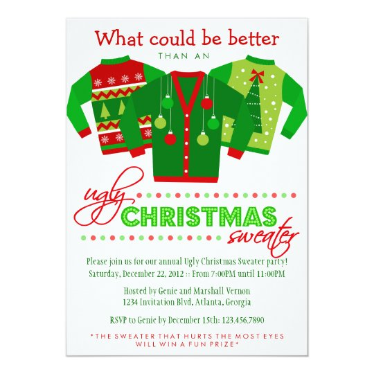 Ugly Christmas Sweater Holiday Party Invitation Zazzleconz