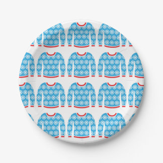 Ugly Christmas Sweater Snowflakes Party Holiday 7 Inch Paper Plate