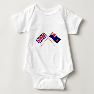 UK and Montserrat Crossed Flags Baby Bodysuit