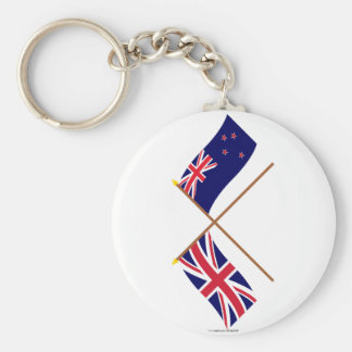 UK and New Zealand Crossed Flags Basic Round Button Key Ring