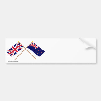 UK and New Zealand Crossed Flags Bumper Sticker