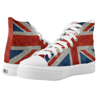 UK British Union Jack flag retro style hi tops Printed Shoes