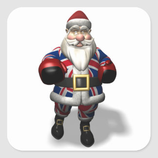 UK Santa Claus On Boxing Day Square Sticker