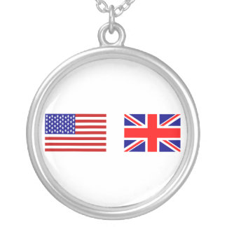 UK & USA Flags Side by Side Silver Plated Necklace