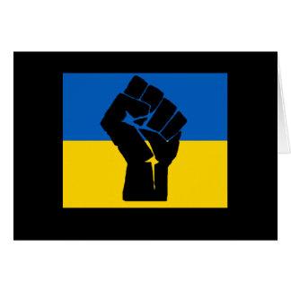 Ukrainian Flag with Black Fist Card