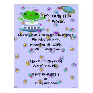Ultra Cute Alien Birthday Invitations