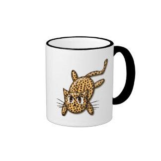 Ultra Cute Anime Leopard Kitty Ringer Mug