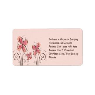 Ultra Feminine Pink & Brown Floral Drawing Address Label