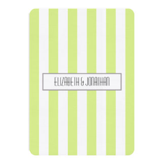 Ultra Modern Green Stripe Wedding Invitation