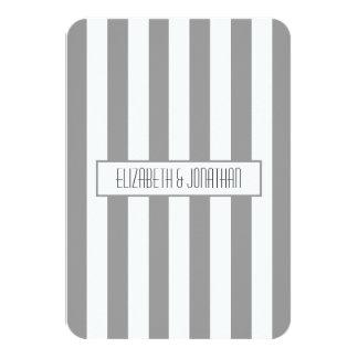 Ultra Modern Grey Striped Wedding RSVP Card