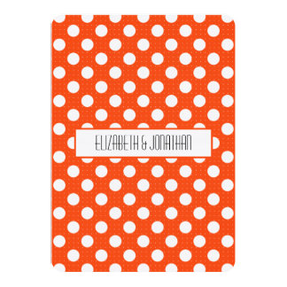 Ultra Modern Orange Polka Dot Wedding Invitation