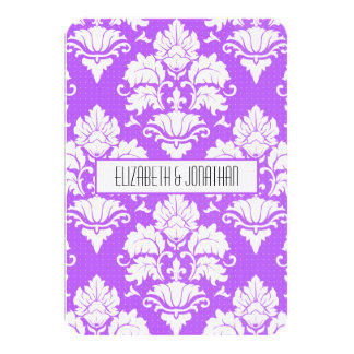 Ultra Modern Purple  Damask Wedding RSVP Card
