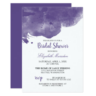 Ultra Violet Abstract Watercolor Bridal Shower Card