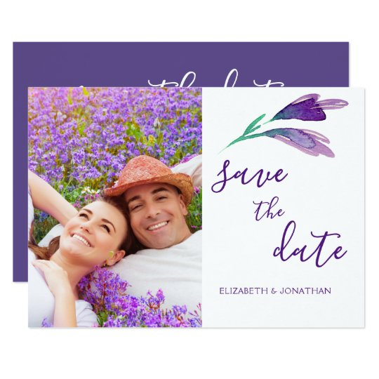 Ultra Violet Simple Floral Save The Date Photo Card