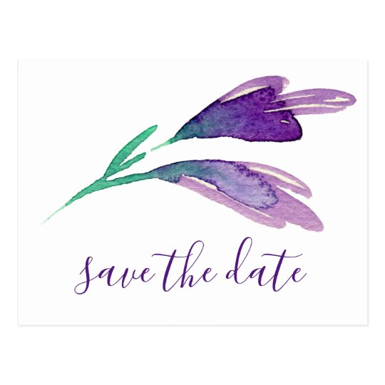 Ultra Violet Simple Floral Trendy Save The Date Postcard