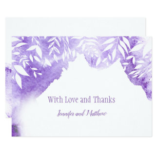Ultra Violet Watercolor Splash Thank You Cards
